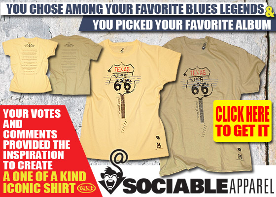 You chose the Blues Legend and you chose your favorite album. Now view the design that Soci@ble Apparel created following your inspiration